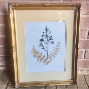 Dried Botanical Matted Ornate Gold Frame Wall Art